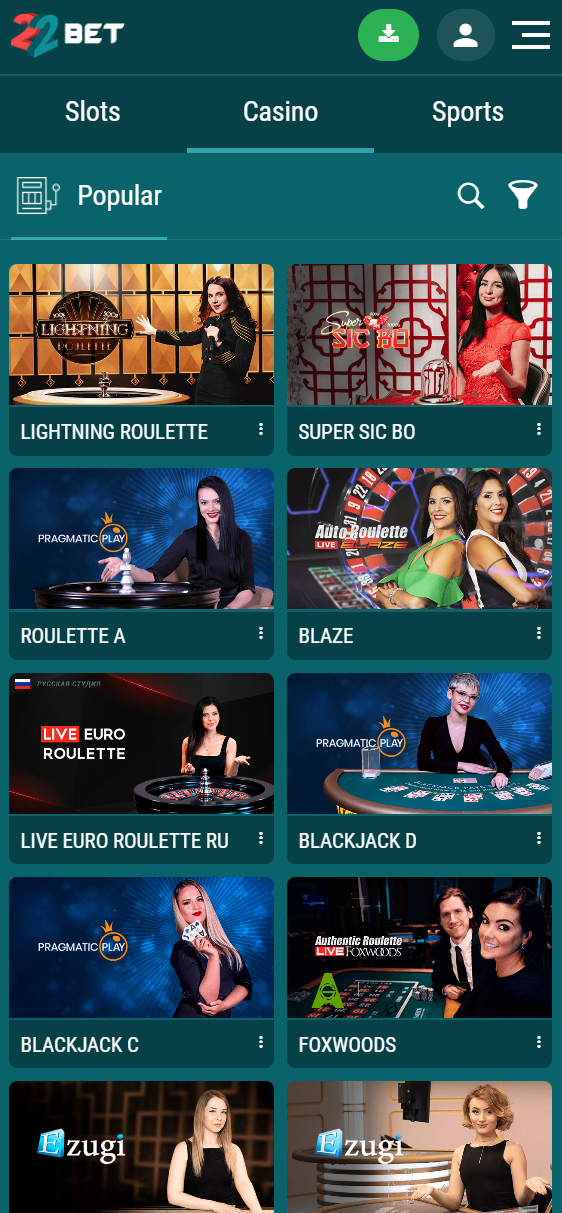 Online casino lobby at 22Bet, viewed from a mobile