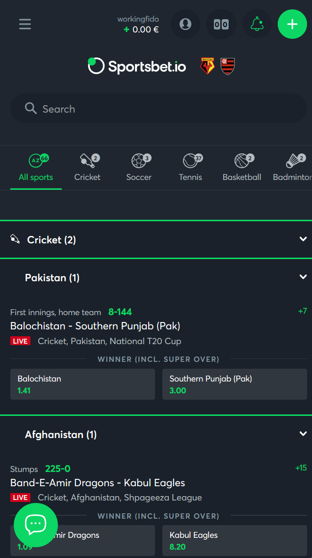 The live bet section at Sportsbet.io