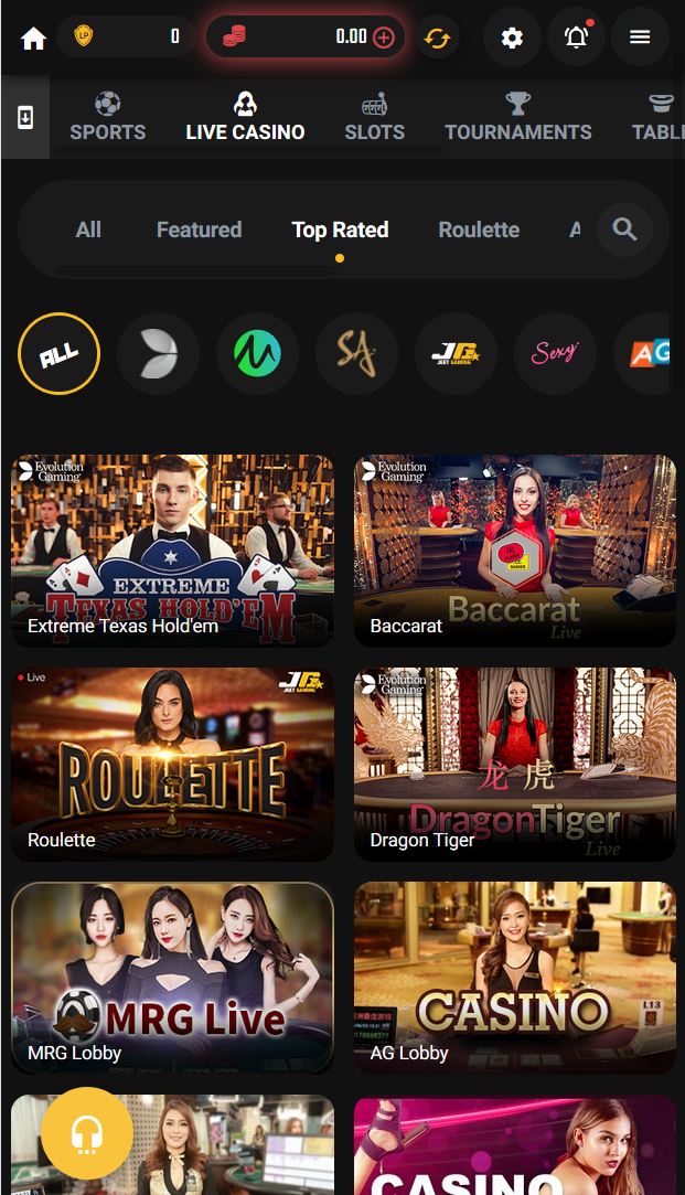 Live casino on Jeetwin, showing top rated games