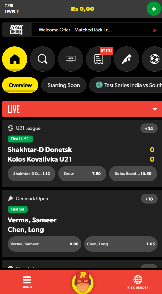 Overview of the live bet section at Rizk