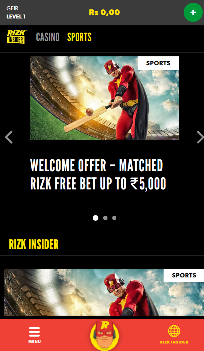 Rizk insider promotion page