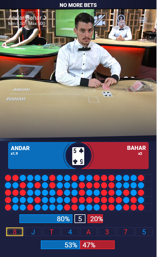 Andar Bahar being played live at Sportsbet.io