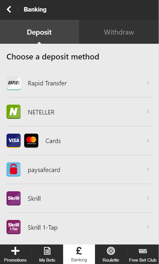 Some of the different deposit methods you got available at Betway