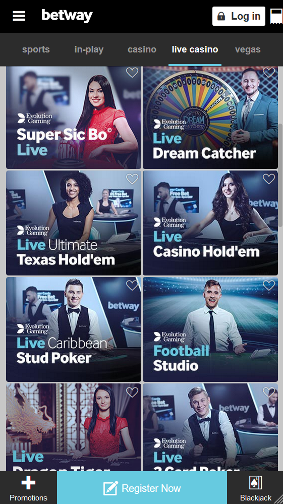 The overview of live table games at Betway