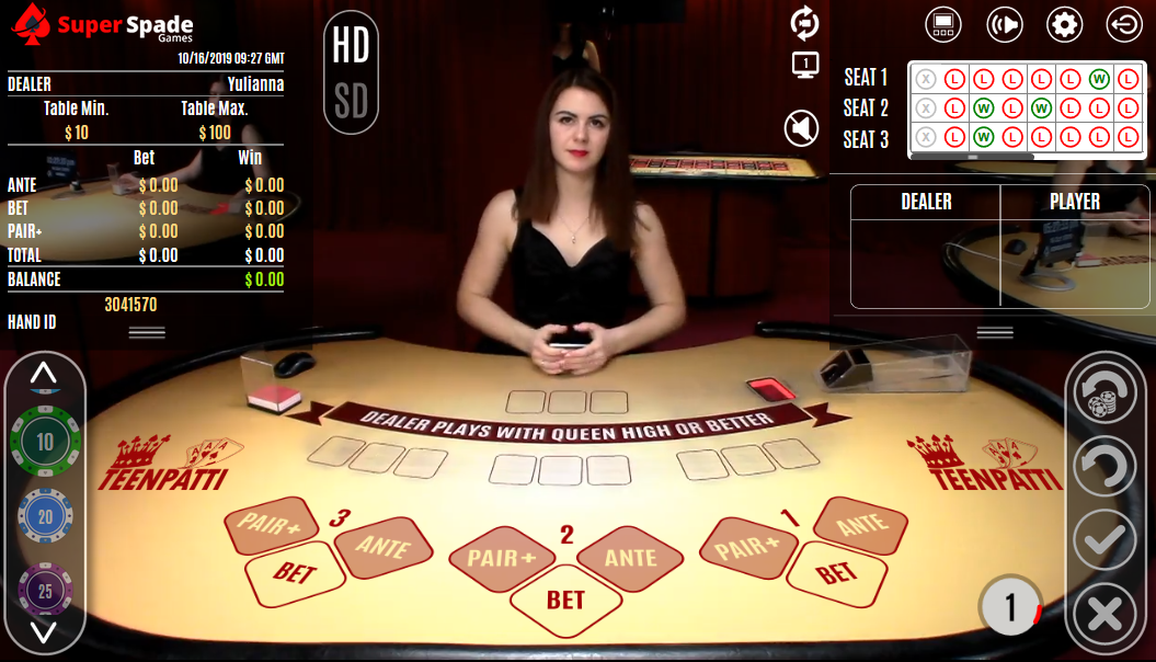 Picture of Teen Patti being played live at 1xbet