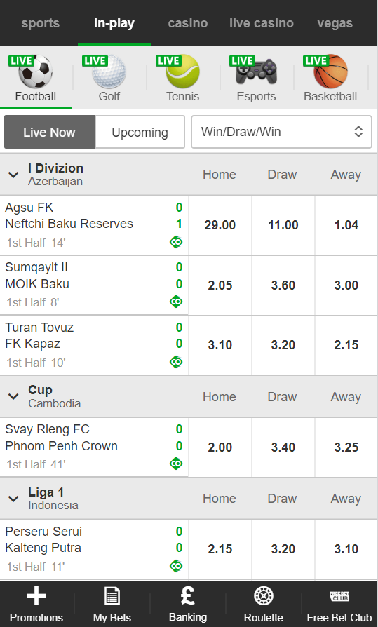 Live bet section at Betway