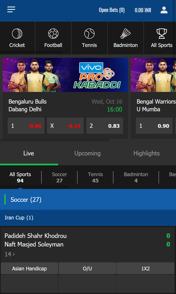 The live bet section on a mobile at JeetWin