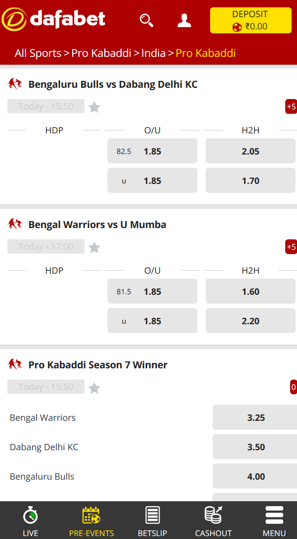 Picture of odds section of kabaddi at Dafabet