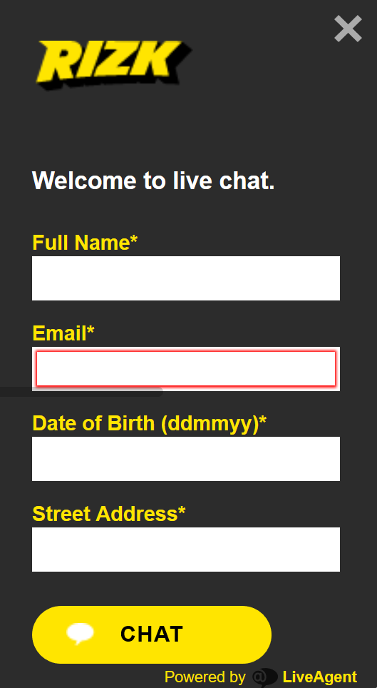 Screenshot of the live chat box at Rizk
