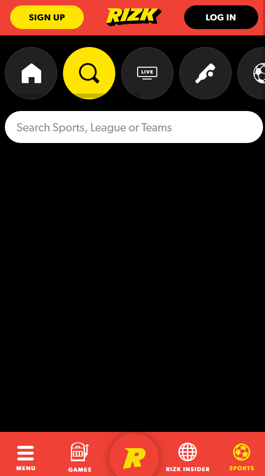 The search engine in the odds section at Rizk