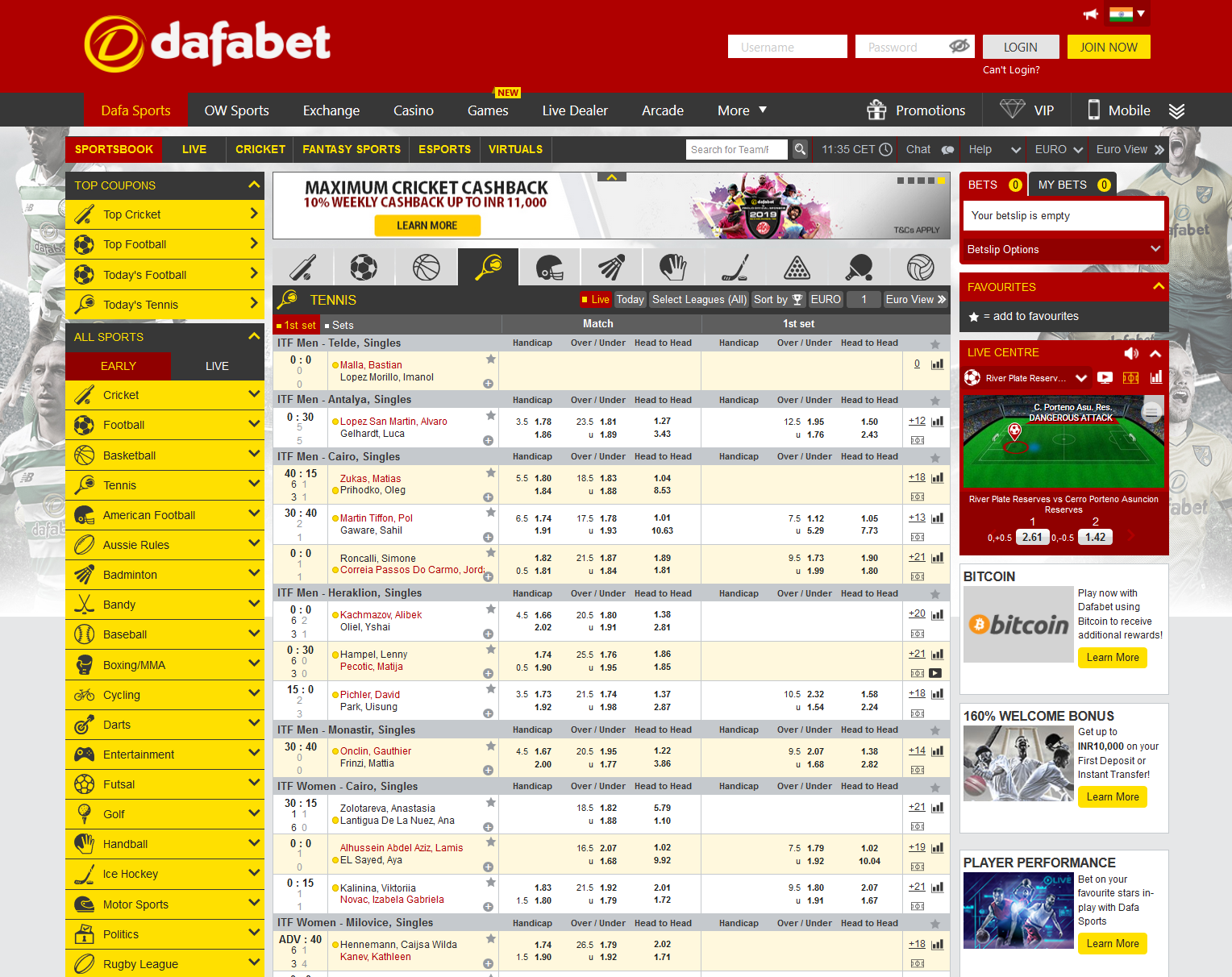 The odds section at Dafabet showing you all the tennis markets available.