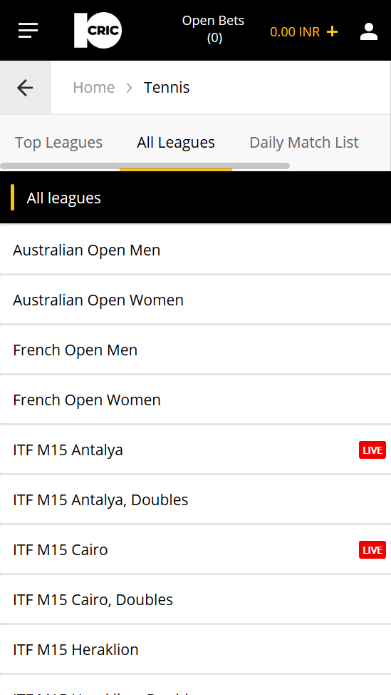 The odds section of tennis at the online casino 10CRIC