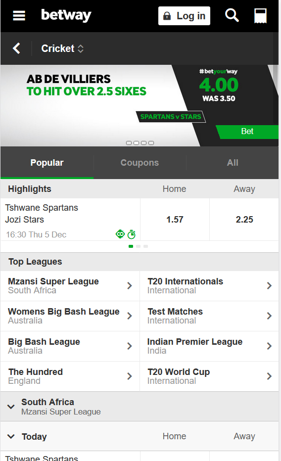 Betway also offers a comprehensive market for cricket betting in India, and elsewhere.