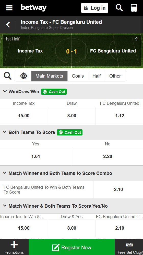 Betway got live betting on almost all Indian football matches.