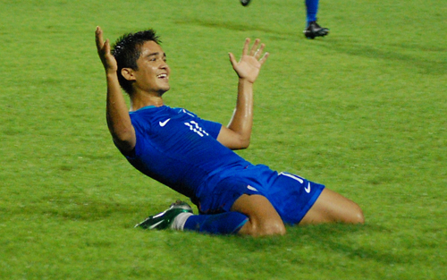 Sunil Chhetri after scoring in the 2008 AFC Challenge Cup final for India against Tajikistan.