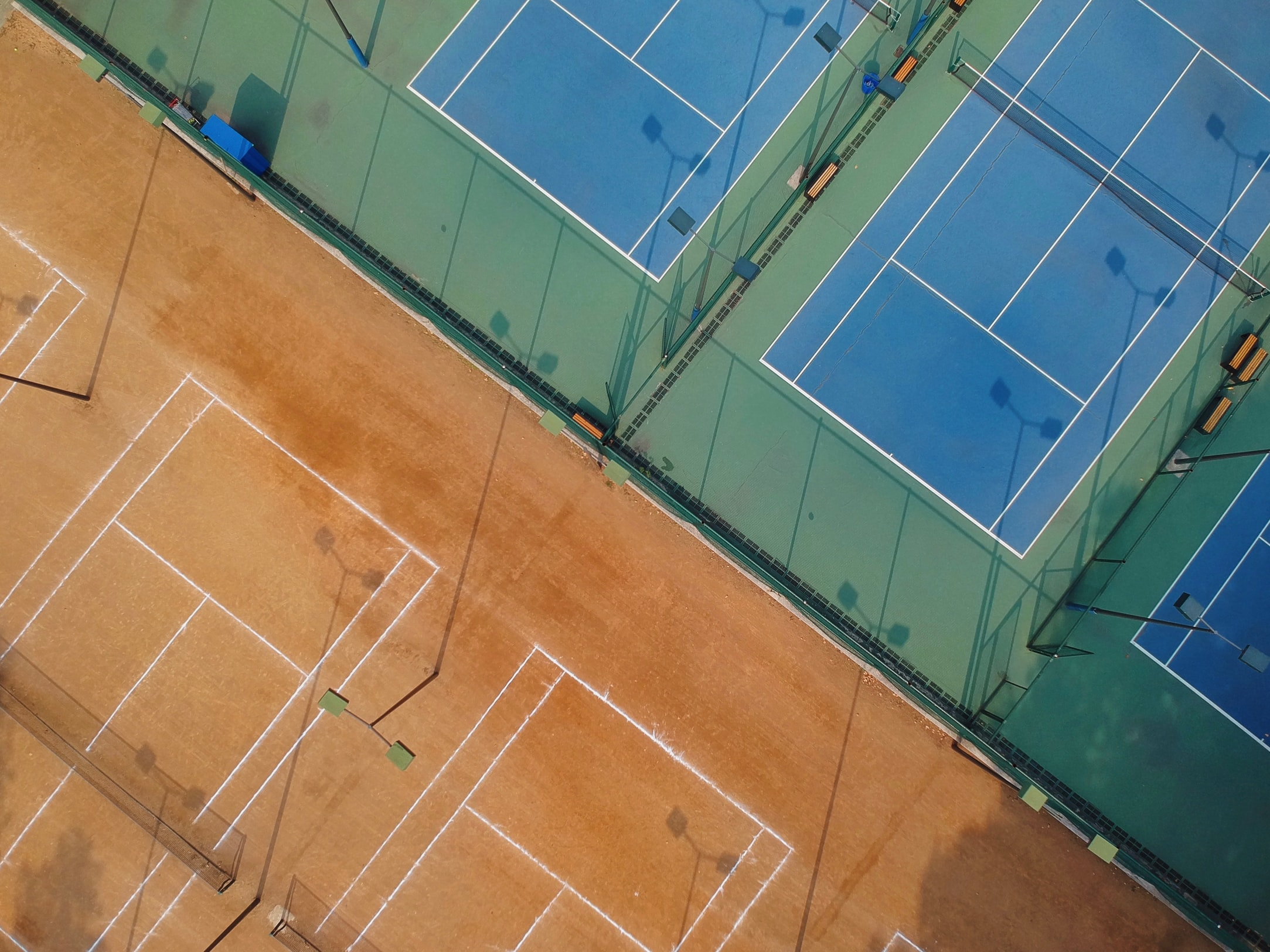 Two different type of tennis courts