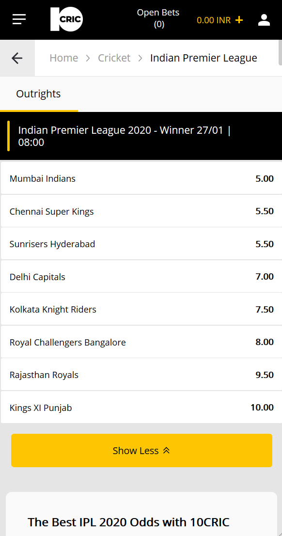 odds overview at 10CRIC on who is going to win IPL 2020.