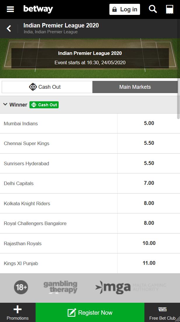 IPL 2020 winner odds at Betway. oddschart overview.