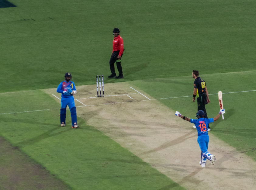 Indian players celebrating yet a win for the worldst best cricket nation India