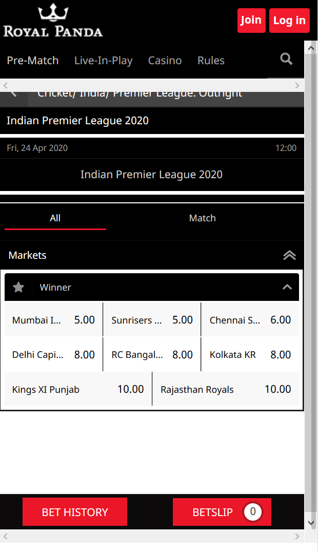 Royal Panda has a comprehensive odds market for the IPL 2020