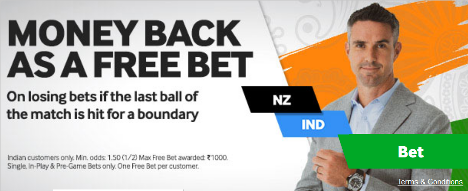 Betway has a potential free bet promotion for the New Zealand India match. Which activates if the last ball is a boundary.