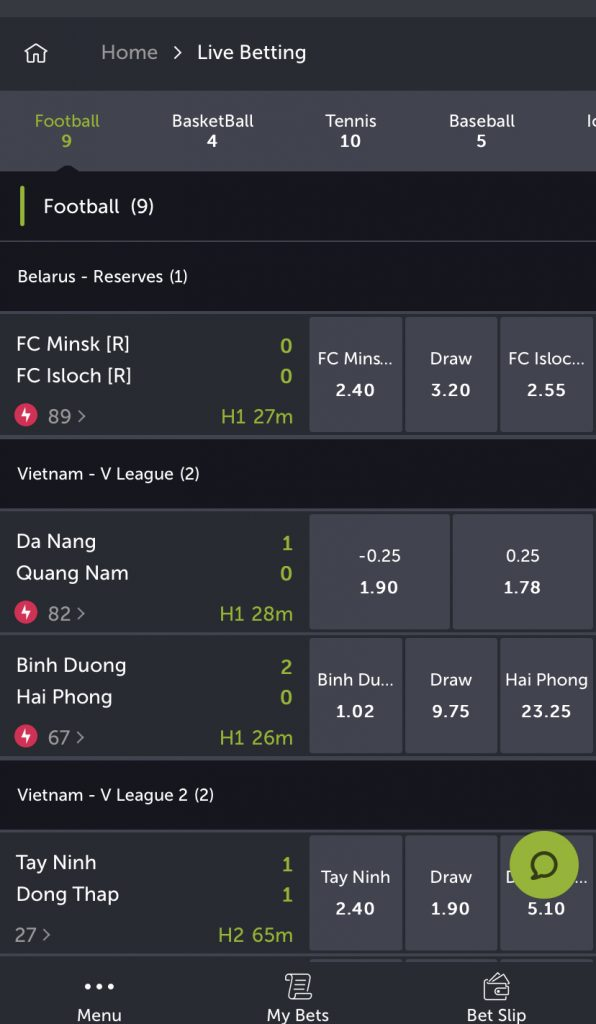 The live bet section at ComeOn.