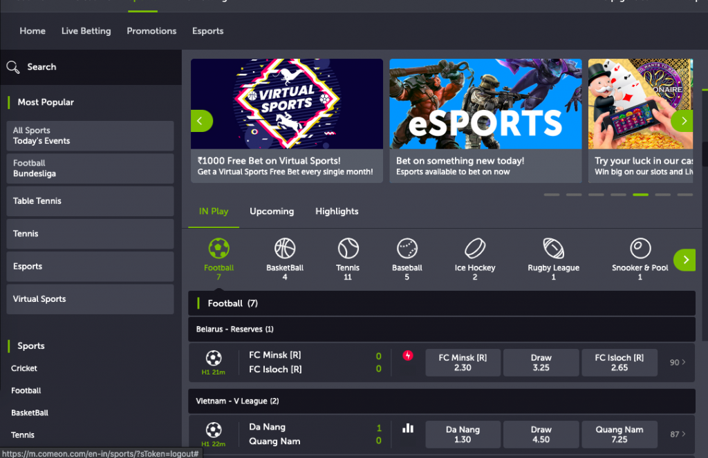 Overview of the sportsbook at ComeOn.