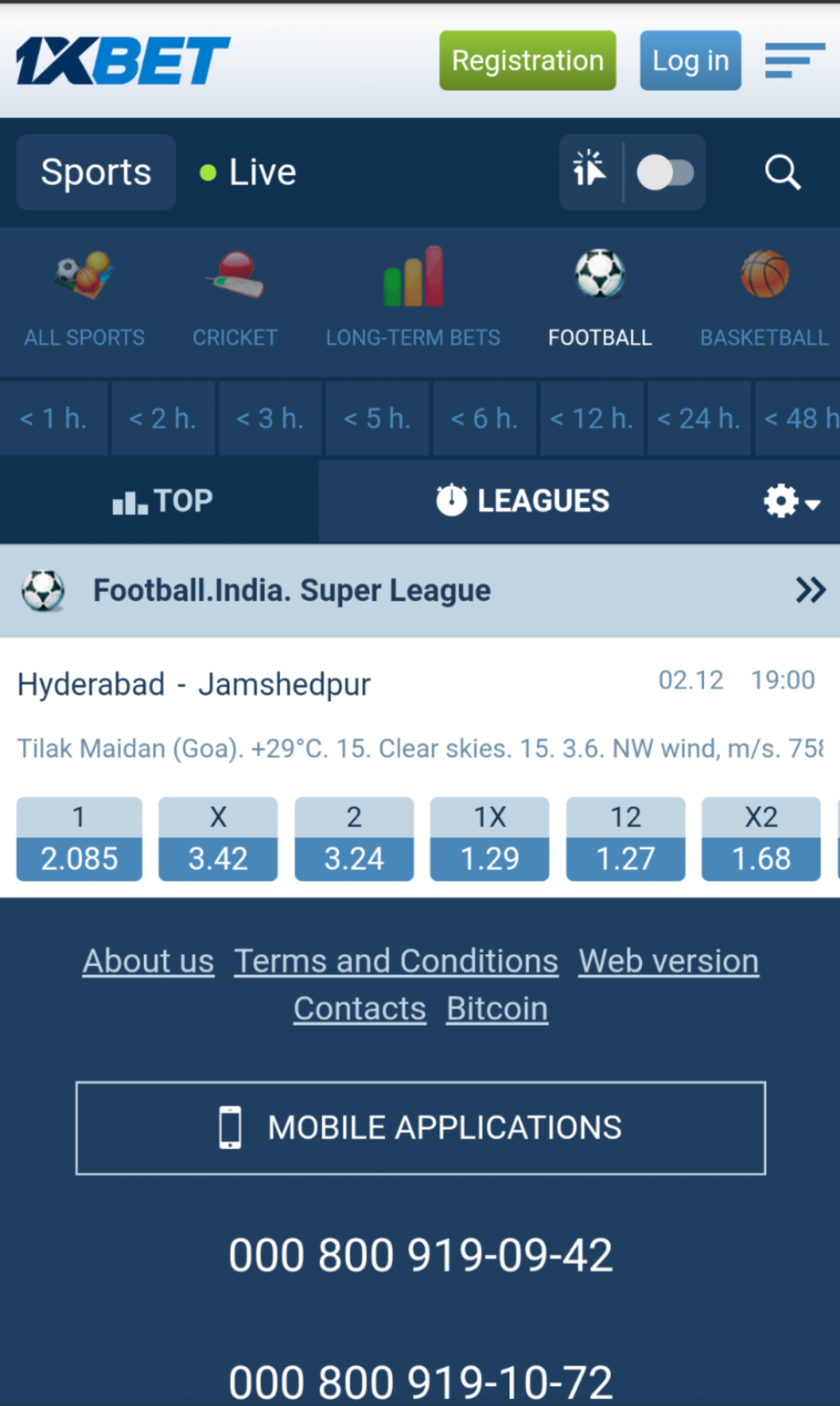 Indian Super League Betting at 1xBet
